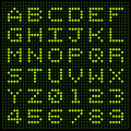 Led alphabet and numbers letters on an display matrix Stock Image