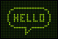 Led board showing the word hello in a speech bubble Stock Photos
