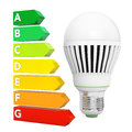 LED Bulb near Energy Efficiency Rating Chart. 3d Rendering