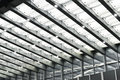 Led canopy above the entrance of modern building at night Royalty Free Stock Photos