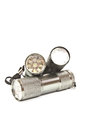 Led flashlights with aluminum body and hand strap on a white background Royalty Free Stock Photo