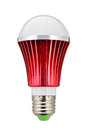 Led lamp bulb red light blue isolated on white Royalty Free Stock Image