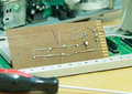 Led leg on circuits after soldering Royalty Free Stock Images
