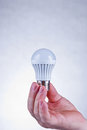 Led light bulb male hand holding a white vertical Royalty Free Stock Image