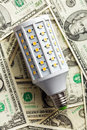 Led lightbulb with american dollars top view of Stock Photo
