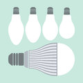 Led lighting and conventional lamps Royalty Free Stock Photo