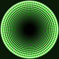 LED mirror abstract round background. Green blazing lights fading to the center.