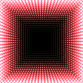 LED mirror abstract square background. Red blazing lights fading to the center.