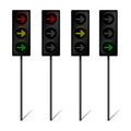 LED Traffic lights with turn right arrow Royalty Free Stock Photos