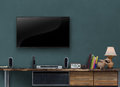 Led tv wooden media furniture with gray blue wall