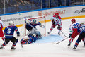 A ledovskih fall into the gate russia moscow april on hockey game cska vs ska teams on hockey cup of legends in ice palace vtb Stock Photo