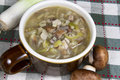 Leek and mushroom soup crock of in earthenware Stock Image