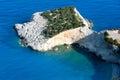 夏天在爱奥尼亚海(Lefkada,希腊)的海角视图。 免版税图库摄影