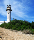 Lefkada lighthouse road summer Royalty Free Stock Photo