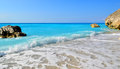 Lefkada wild and beautiful caribbean seaside turquoise of mediterranean island of greece megali petra beach Royalty Free Stock Image