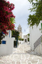 Lefkes Paros Greek Island scene with Agia Triada church and typi Royalty Free Stock Photo