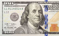 Left half of the new one hundred dollar bill newly designed u s currency Royalty Free Stock Photos