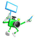 The left hand holding the board doctor green camera character t right grasp pencil create d robot series Stock Images