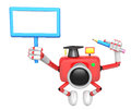 The left hand holding the board doctor red camera character the right grasp pencil create d robot series Stock Images