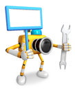 The left hand holding the board engineer yellow camera character right is a spanner create d robot series Stock Photo