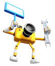 The left hand holding the board engineer yellow camera character right is a spanner create d robot series Royalty Free Stock Photography