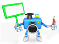 The left hand Holding the board Teacher Blue Camera Character. T Royalty Free Stock Images