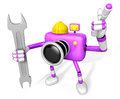 The left hand Holding a Spanner Engineer Purple Camera Character Stock Photography