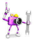 The left hand holding a spanner engineer purple camera character right point finger create d robot series Stock Images