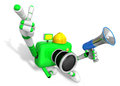 The left hand point the finger Engineer Green Camera Character. Royalty Free Stock Photo