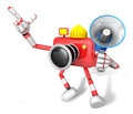 Left hand point finger engineer red camera character right hand holding loudspeaker create d camera robot series Royalty Free Stock Photography