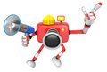The left hand point the finger engineer red camera character th right is holding a loudspeaker create d robot series Stock Photography