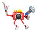 The left hand point the finger engineer red camera character th right is holding a loudspeaker create d robot series Stock Images