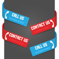 Left and right side signs - Call Us and Contact Us Stock Photography