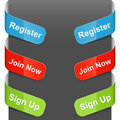 Left and right side signs - Register, Join now Stock Image