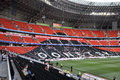 Left size view of donbass arena buring the match between shakhtar donetsk city ukraine vs metallurg donetsk city ukraine ukrainian Stock Photos