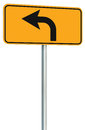Left turn ahead route road sign perspective, yellow isolated roadside traffic signage, this way only direction pointer black frame Royalty Free Stock Photo