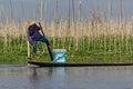 Leg-rowing fisherman at Inle Lake, Myanmar Royalty Free Stock Photos