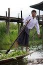 Leg-rowing fisherman at Inle Lake, Myanmar Stock Photography