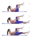 Leg up crunch step by step instructions for abs lie on your back with your knees bend in the air a raise your shoulder blades off Royalty Free Stock Photography