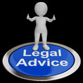 Legal advice button shows attorney expert guidance showing Royalty Free Stock Image