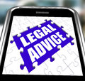 Legal advice smartphone shows online lawyer showing help Stock Photos