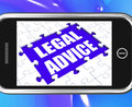Legal advice tablet shows expert or lawyer assistance online showing Royalty Free Stock Photo