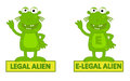 Legal alien vs e legal humorous cartoon of and eps Royalty Free Stock Photography