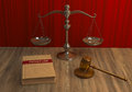 Legal attributes: gavel, scale and law book Stock Photography
