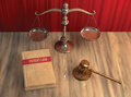 Legal attributes gavel scale and law book illustration of patent on the table Royalty Free Stock Photo