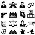 Legal justice and court icons icon set Stock Image
