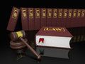 Legal library gavel and law books symbols of law and literature Stock Images
