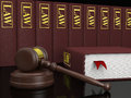 Legal literature gavel and law books symbols of law and Royalty Free Stock Image