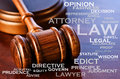 The legal profession a wooden judge s gavel and words that describe business Royalty Free Stock Image