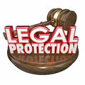 Legal protection judge gavel court trial attorney lawyer d words with wooden to illustrate law represented by a or Stock Image